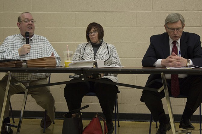 The meeting was moderated by Dale Stein, McLean Citizens Association's Budget and Taxation Committee chair (not pictured). Participants included (from left): Joe Mondoro, CFO for Fairfax County; Kristen Michael, assistant superintendent of financial services for the Fairfax County Public Schools; and Supervisor John Foust (D-Dranesville).