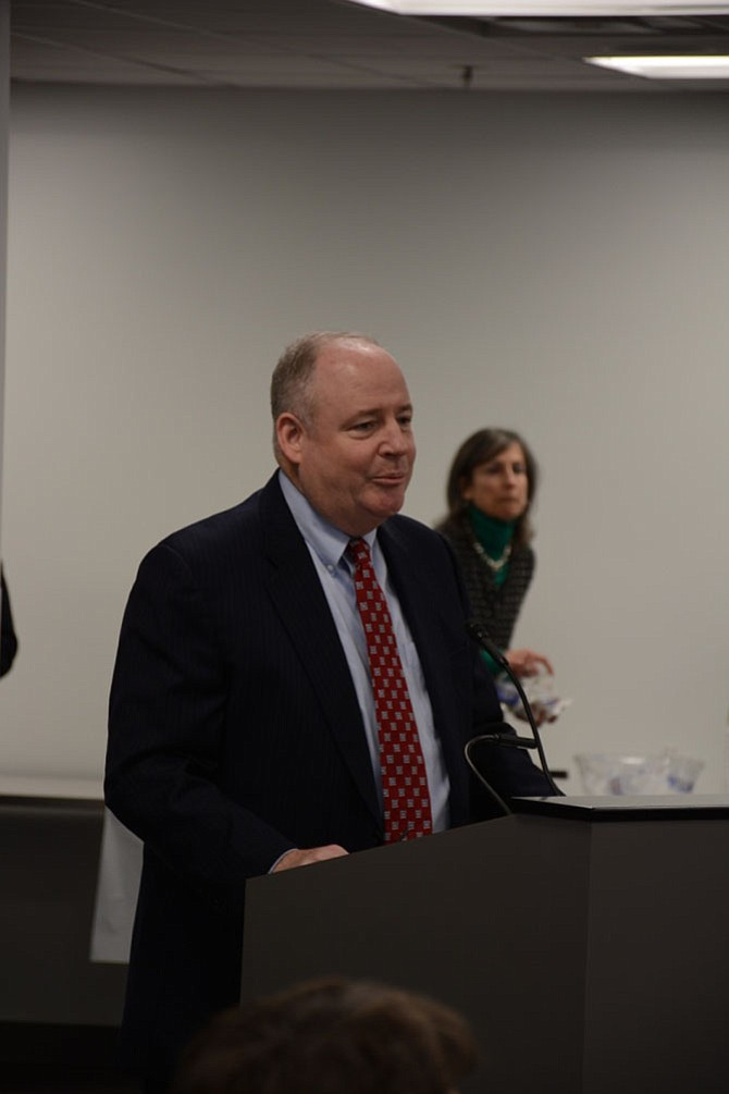"Commonwealth's Attorney Ray Morrogh speaks to the Public Safety Committee on March 21. He said he's ""fine"" with an administrative investigation being conducted simultaneously with a criminal one, but that there are some concerns and those involved must ""tread carefully."""