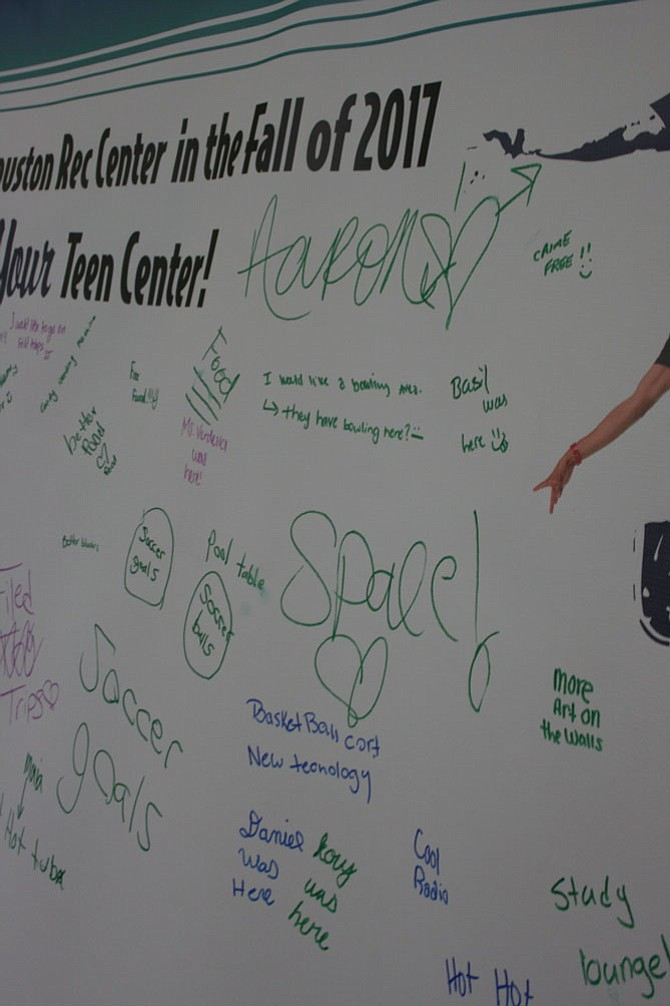 What do today's teens want? According to a graffiti board with teen comments at the Charles Houston Recreation Center, teens want a space of their own with new technology to do homework and have fun.
