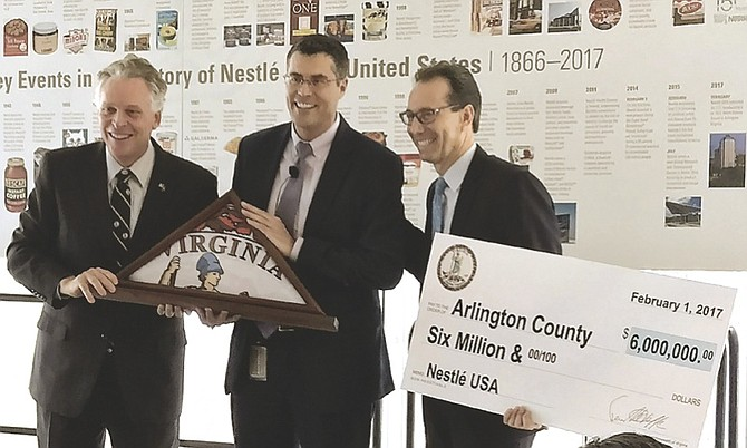From left: Gov. Terry McAuliffe; Paul Bakus, president of Corporate Affairs for Nestlé US; and County Board Chair Jay Fisette. Nestlé received $6 million in state and local incentives to relocate to Arlington.