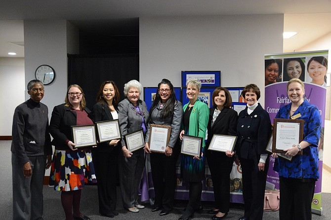 "Seven women from around Fairfax County were recognized March 22 as ""Trailblazing Women in Labor and Business"" by the Fairfax County Commission for Women. From left are Supervisor Cathy Hudgins (D-Hunter Mill), Siobhan Green, Ashley W. Chen, Constance ""Connie"" Cordovilla, Staci L. Redmon, Lovey Hammel, Patricia ""Pat"" Saah Bayliss, Board Chairman Sharon Bulova and Sondra Seba Hemenway."