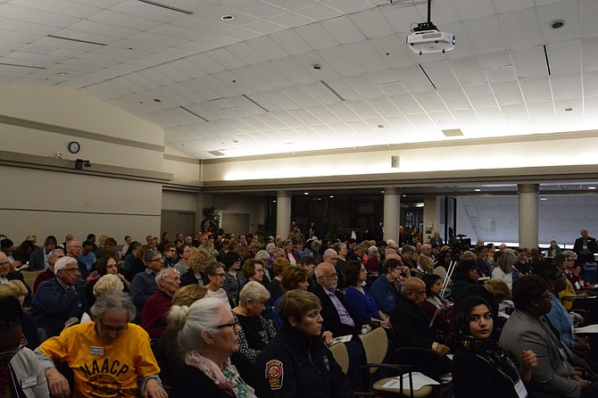 More than 100 people filled the Ernst Cultural Center at Northern Virginia Community College's Annandale Campus on Sunday, March 26, to hear more than a dozen elected and faith leaders, as well as local organizations speak about hate speech, bias incidents and hate crimes.