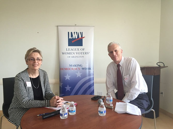 Nancy Tate (left) from the League of Women Voters and moderator of the discussion with County Manager Mark Schwartz.