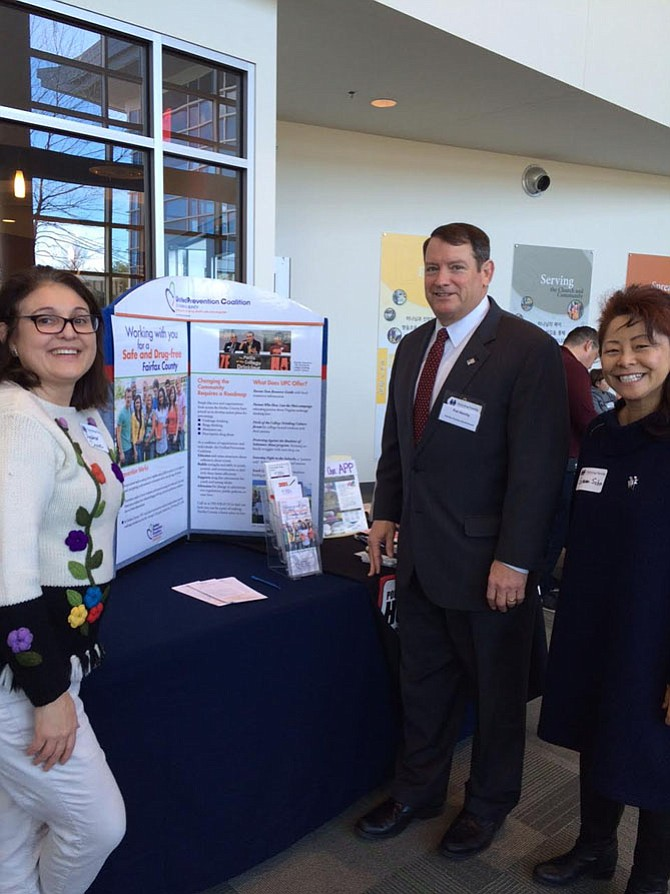 At the Thriving Family Summit are, from left, Heather Davies, Fairfax County Unified Prevention Coalition board member; Supervisor Pat Herrity (R-Springfield) and Gemma Sohn, Fairfax County Unified Prevention Coalition board member.
