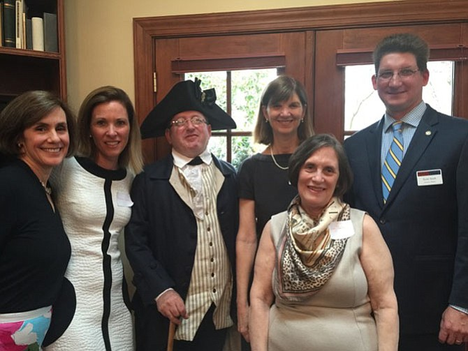Gunston Hall executive director Scott Stroh, right, attended a fundraiser April 1 at the home of Gay and Bob Pasley to help raise funds for the Gunston Hall School House. With Stroh are Evelyn Griswold, Brooke Ross, George Mason interpreter Sarah Becker and Gay Pasley.