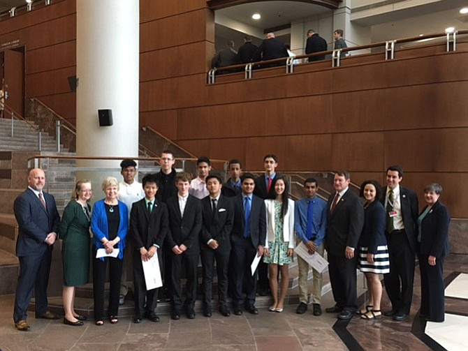 High school students from Chantilly and Thomas Jefferson were recognized on April 4 for their winning projects in the Fairfax County assistive technology for seniors 'Shark Tank' challenge.