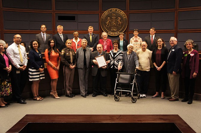 Holocaust survivor Michele Margosis accepts the Proclamation declaring April 24, 2017 as Holocaust Remembrance Day in Fairfax County.