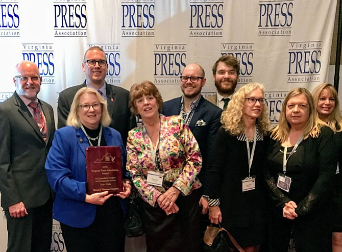 Local Media Connection writers and photographers won 37 Virginia Press Association awards for work in 2016, including the Virginia Press Association Award for Journalistic Integrity and Community Service. Pictured here from left, John Bordner, Mark Mogle, Mary Kimm, Shirley Ruhe, Tim Peterson, Vernon Miles, Eden Brown, Andrea Worker and Jeanne Theismann.