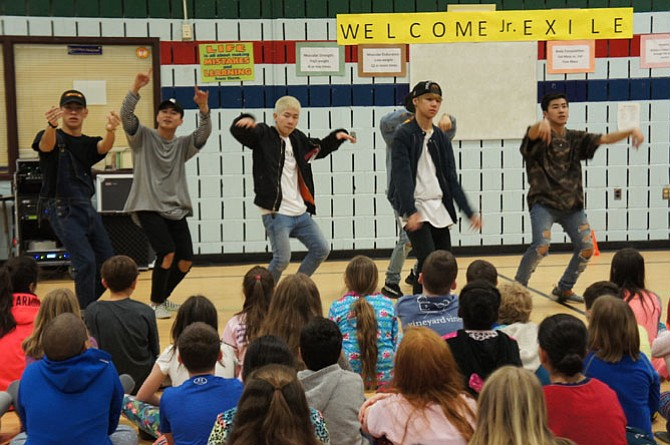 Japanese teen group Jr. Exile wows the kids at Fox Mill ES, where a Japanese immersion program made the visit even more exciting for the students.