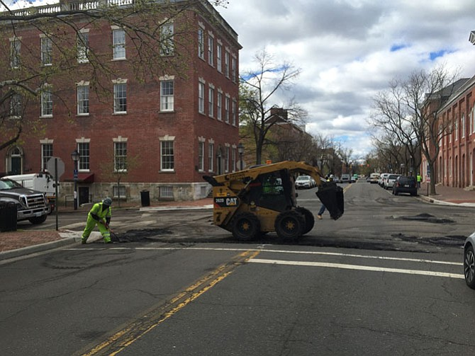 Road resurfacing work on Cameron Street.