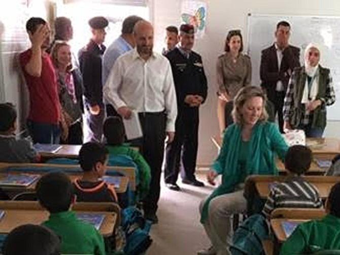 Rep. Barbara Comstock (R-10) visiting a school at Azraq refugee camp in Jordan.
