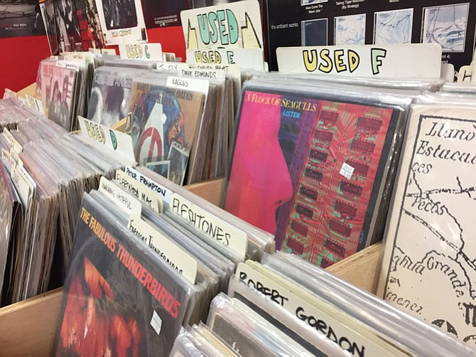 The shop on North Fairfax Street is overflowing with records of all vintages.