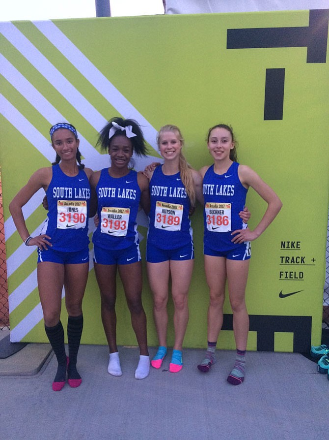 Devyn Jones, Hannah Waller, Cara Hutson, Olivia Beckner at Arcadia Invitational, April 7.