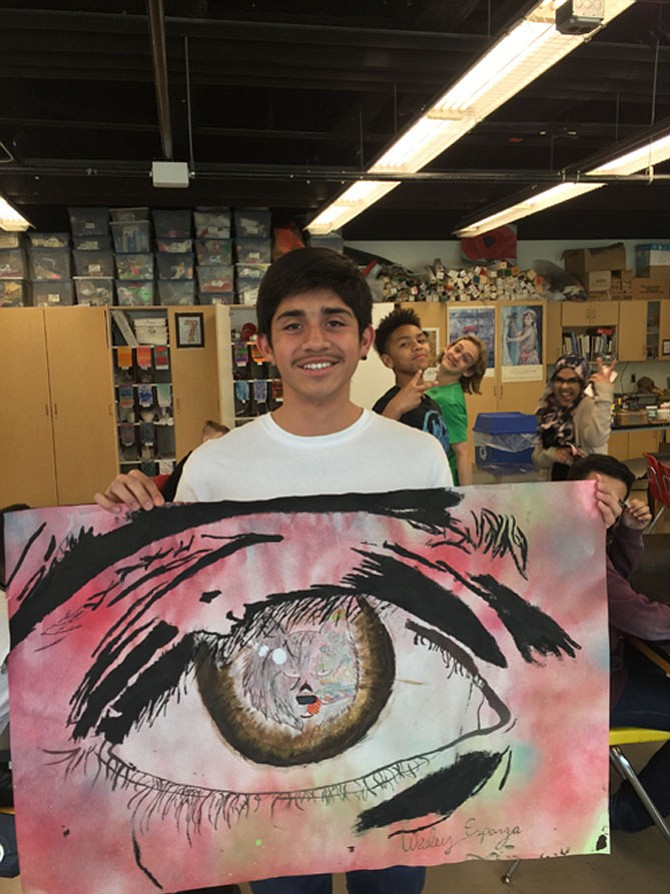 Wesley Esparza with his Andy Warhol-inspired painting.