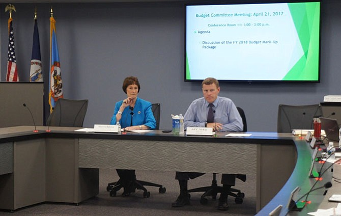 Fairfax County Board Chairman Sharon Bulova and Budget Committee Chair Supervisor Jeff McKay (D-Lee) get ready to work through the issues at the last Budget Committee meeting before the Advertised FY 2018 Budget goes to Mark-Up.