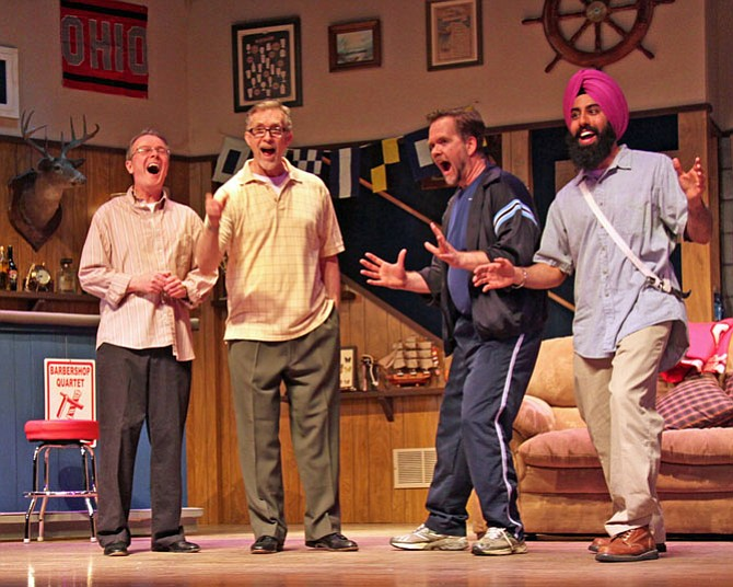 """From left: Jerry Hoffman, John Brown, Peter Halverson and Gurpreet Sarin rehearse a scene from LTA's production of """"The Fabulous Lipitones."""""""