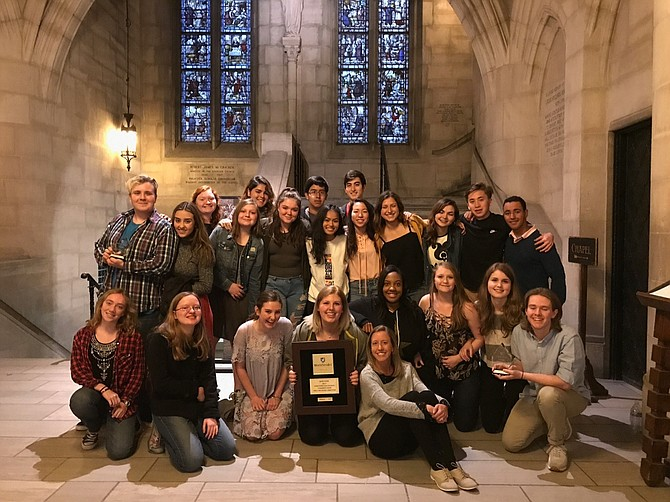 Yorktown Chamber Choir with Director Emily McTavish in the Riverside Church, N.Y., where the competition was held.