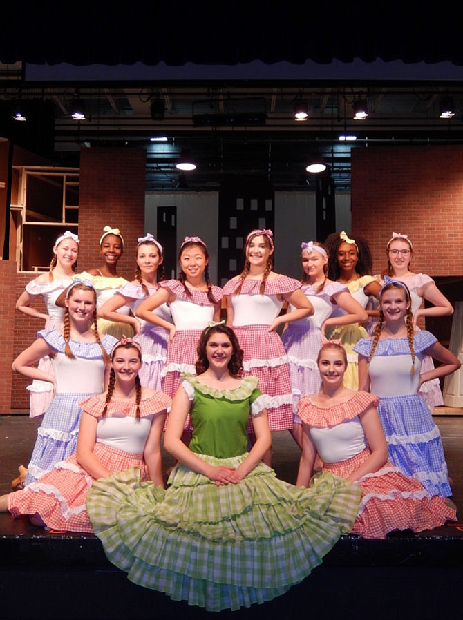 "The girls from The Hot Box nightclub in Fairfax High's upcoming musical, ""Guys and Dolls."""