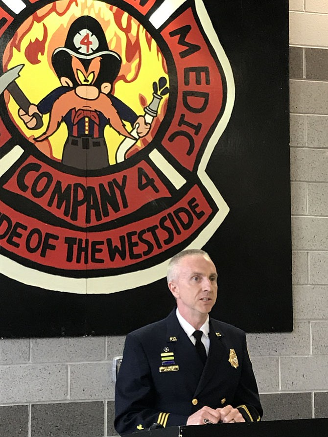 Chaplain Scott Primrose gave the Invocation during the Grand Opening of the Fairfax County Fire & Rescue Station 4, Herndon. Primrose led the crowd in prayer asking for blessing and safekeeping for the men and women of Station 4.