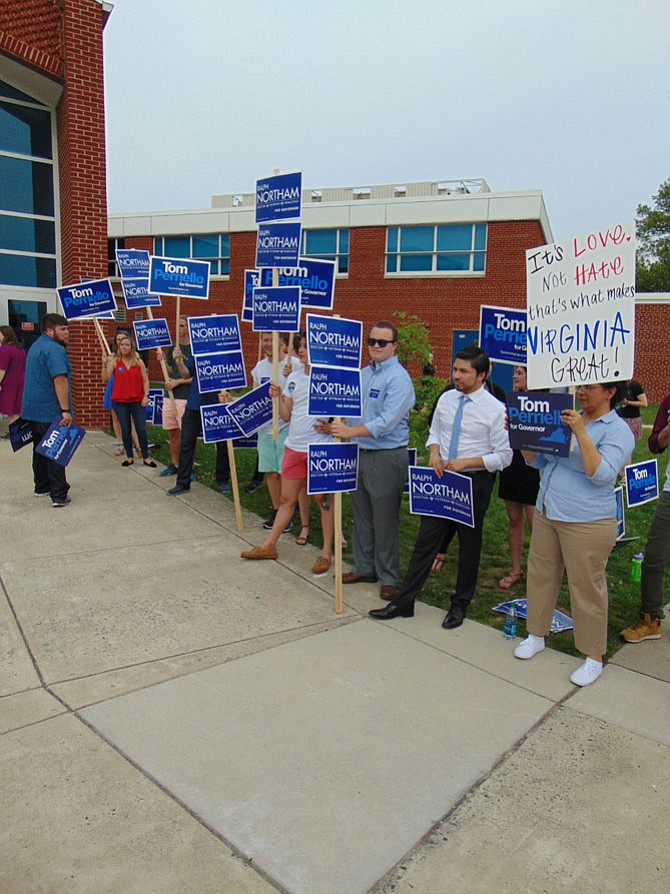 Supporters of Lt. Gov. Ralph Northam before the gubernatorial debate on Saturday, April 29, at Lanier Middle School in Fairfax.