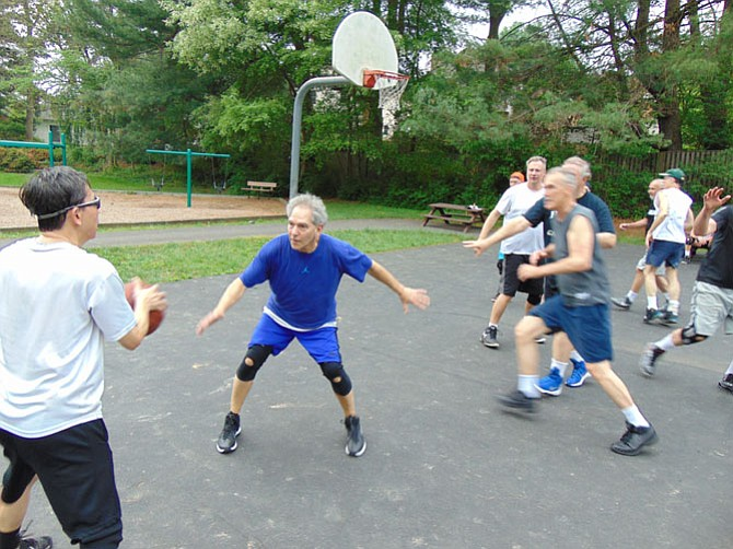 The Grey Haired Basketball League is for men in their 50s and 60s, serving about 160-175 players on 20 teams from Burke, Springfield, Fairfax, and elsewhere in Fairfax County.