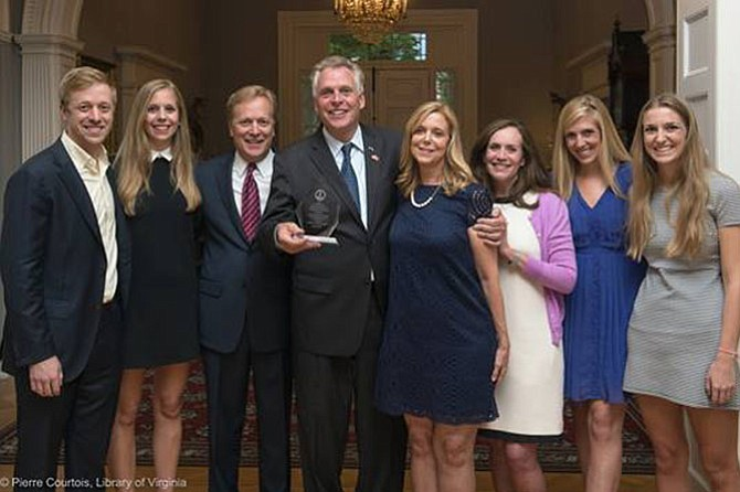 Virginia Gov. Terry McAuliffe honored the Stewart family and other recipients of the 2017 Governor's Volunteerism and Community Service Awards with a special ceremony at the Executive Mansion on Thursday, April 20. From left: Geordie, Jenny, George, Gov. Terry McAuliffe, Connie, Dorothy McAuliffe, Julie and Joy.