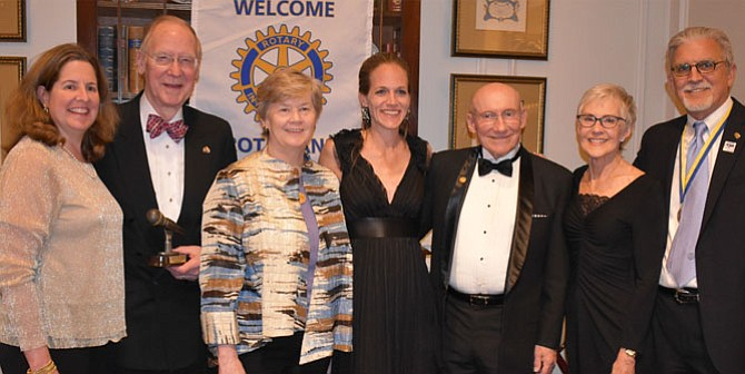Mayor Allison Silberberg, left, stands with Rotary Club of Alexandria honorees at the club's Charter Night April 8 at Belle Haven Country Club. With Silberberg are Gant Redmon, Mary Lee Anderson, Christine Friedberg, Gerry Cooper, Susan Grandy and Rotary Club of Alexandria President Tom Roberts.
