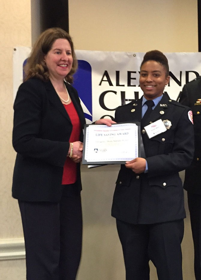 Mayor Allison Silberberg with Firefighter/Medic Kaandra Wilson