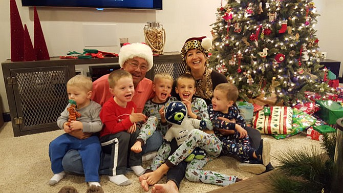 Mike and Cindy Zook and their five grandsons, Brayden, Landon, Reid, Evan and Parker.