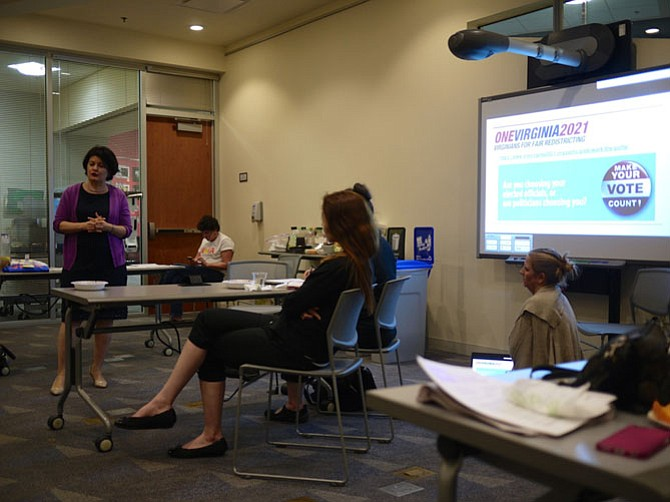 State Sen. Barbara Favola addresses the We of Action Virginia meeting at Shirlington Library on May 1.