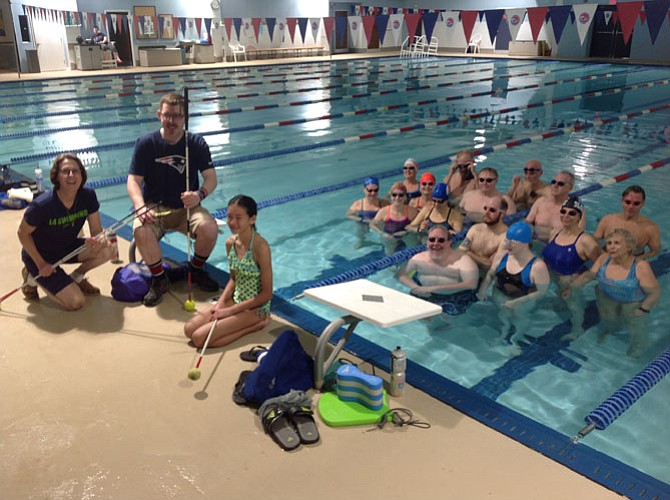 "On April 30, a group of L4 Swimming masters swimmers joined blind teammate Michelle Duquette at Burke Racquet & Swim Club for the third annual ""Swim Like Michelle"" fundraiser to benefit the Foundation Fighting Blindness."