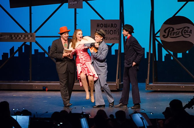"From left:  Vaheed Ali Talebian, Allie Lytle, Ryan Muha, Jordan Rees in Herndon High School's production of ""Guys and Dolls."""