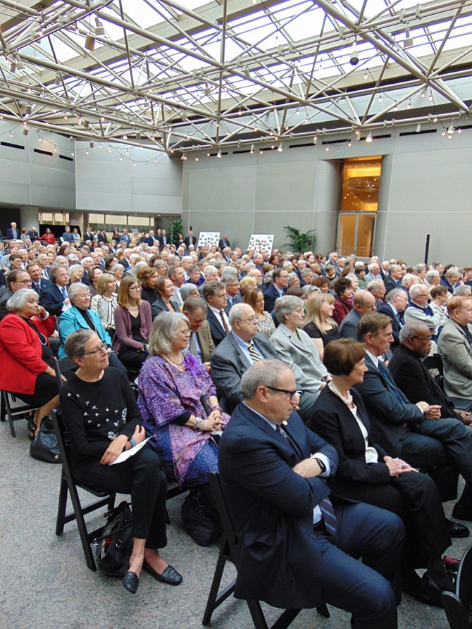 Several hundred people attended the memorial service on Saturday, May 6, for former Del. Jim Scott (D-53) at the INOVA Center for Personalized Health Conference Center Atrium in Fairfax.