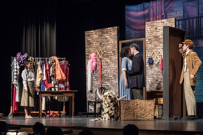 "From left: Jessica Peros, Jamie Goodson, Mark Bosset, Sean Leech in Langley High School's production of ""Gypsy."""