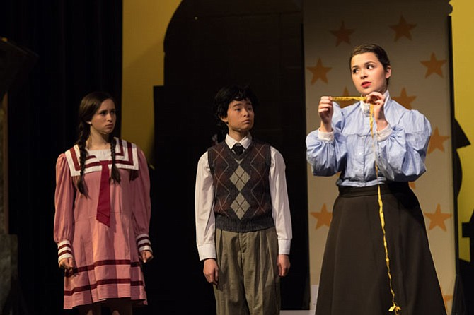 "From left:  Whitney McDonald, Liliana Suzuki, Olivia Hernandez in Flint Hill School's production of ""Mary Poppins."""
