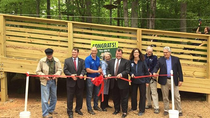 The ropes course Go Ape opened in the area of Springfield behind South Run RECenter on May 4. It features ziplines, suspended obstacles and Tarzan swings as part of the treetop adventure.