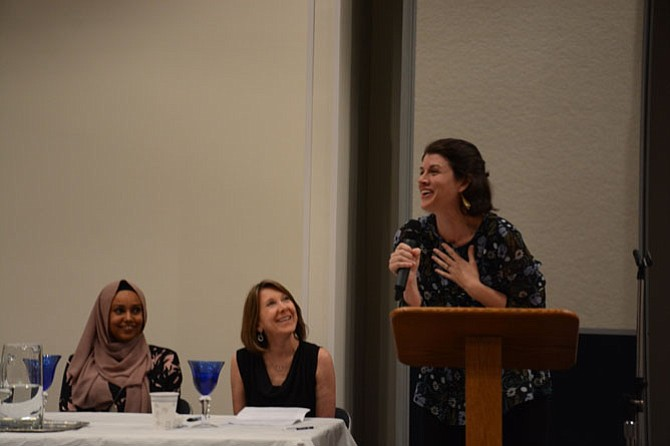 The Rumi forum brought together Rev. Meg Peery McLaughlin (right), co-pastor of Burke Presbyterian Church; Riham Osman, communications coordinator for the Muslim Public Affairs Council (left); and Temple B'nai Shalom's Rabbi Laura Rappaport (center).