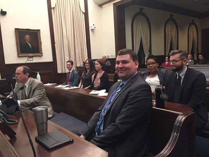 Alexandria budget staff, from left: Morgan Routt, director of management and budget; Matthew Evans; Nicole Evans; Whitney Harris; Alex Braden; Alyssa Ha (obscured); Martina Alexander; and Arthur Wicks. La'Tangela Bellamy (not pictured) was seated in a row behind them.