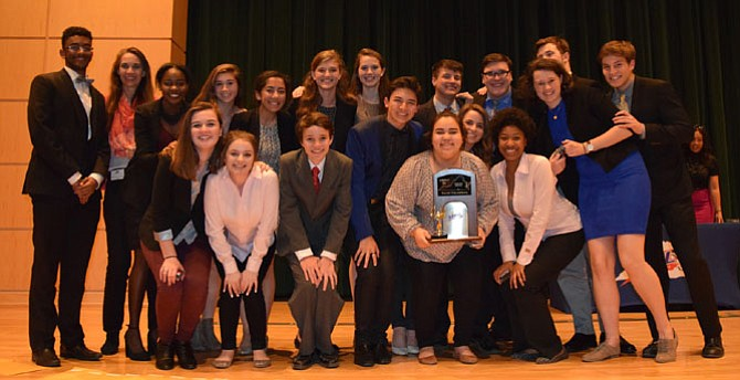 Members of the Chantilly High School Forensics Team that  won first place in the VHSL 6A State Forensics Championships on March 25 in Midlothian, Va.