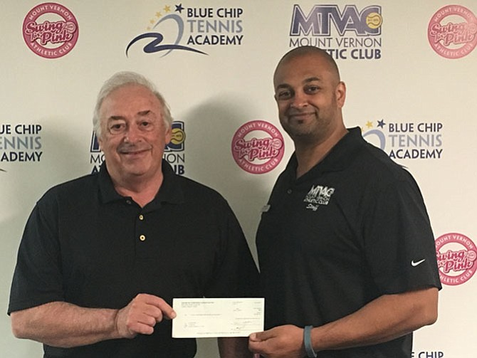 From left: Ron Fitzsimmons, founder of Alice's Kids Organization and Dimitris Kollaros, general manager of Mount Vernon Athletic Club, A Van Metre Premier Property located in Alexandria.