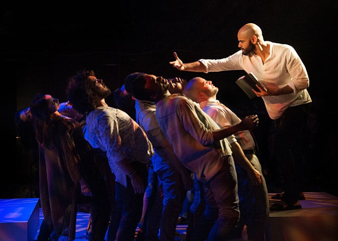 "Nicholas Edwards (Jesus) and the cast of ""Jesus Christ Superstar,"" which plays at Signature Theatre now through July 2."