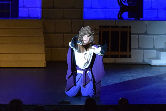 "Mandip Bhadra in South Lakes High School's production of ""Beauty and the Beast."""