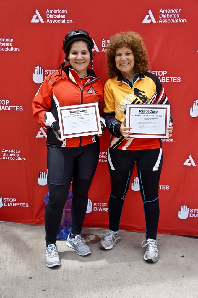 Mother and daughter dynamic duo,from left: Claire Gebauer, diagnosed with Type 1 diabetes at age 3, rode the 2017 Diabetes Tour de Cure as captain of Team Moxie. The team won recognition for #1 fundraiser among Family/Friends teams. Mom Marcie Miller of Reston earned kudos for raising the most donations as an individual – for the fourth year in a row!
