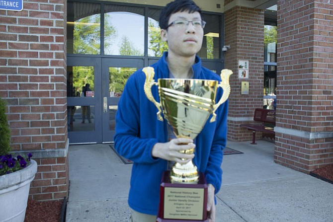 McLean High School Freshman Justin Young, 15, the national champion of the Junior Varsity National History Bee hopes to recruit a team to compete with him next year.