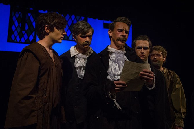 "From left: Dylan Gottlieb, Peter Bashaw, J. Carlin Decker III, Roger Clanton and Patrick Moloney in Lake Braddock High's production of ""The Crucible."""