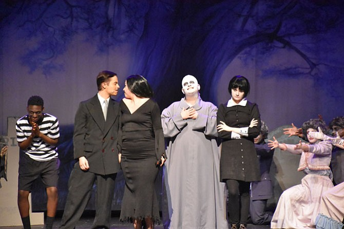 """From left: Gus Cobba, Craig Allison, Doris Dougherty, Jake Borenstein, Maddie Gereski and Cassidy Donaghy in South County High School's production of """"Addams Family."""""""