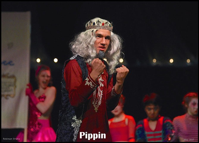 "Jimmy Grimes in Robinson Secondary School's production of ""Pippin."""