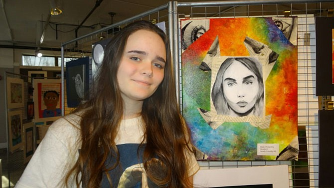 Lorton resident Belle McCarthy, a South County Middle School student, displayed her artwork at Workhouse Arts Center in Lorton.
