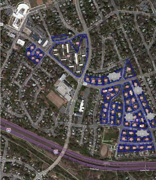 Map of the Westover homes to be renovated and converted to affordable housing.