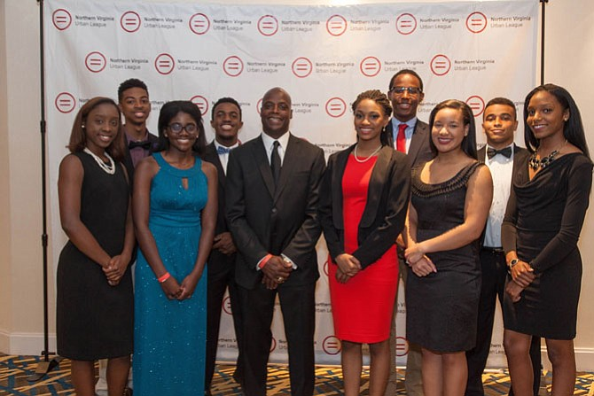 NVUL scholarship winners, with Pro Football Hall of Famer Darrell Green, from left are Oshae Moore, Aaron Moorer, Abigail Darko, Matthew Ritchie, Darrell Green, Morgan Hobson, Christian Clark, Miranda Merritt, Nicholas Conklu, and Jessica Brisco.
